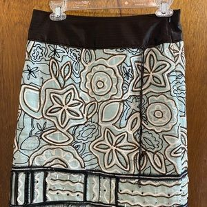 Etcetera skirt cotton blue brown embroidered